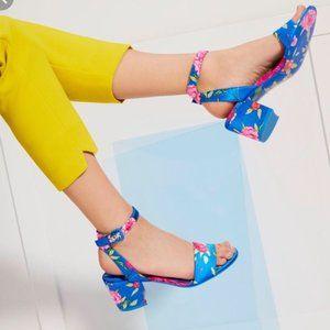 ALDO Lolla Blue Floral Block Heel Shoe 7.5 EU 38